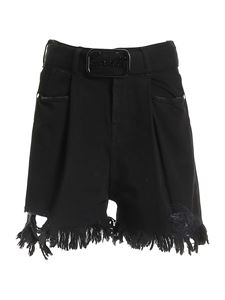 Gaelle Paris - Logo belt shorts in black