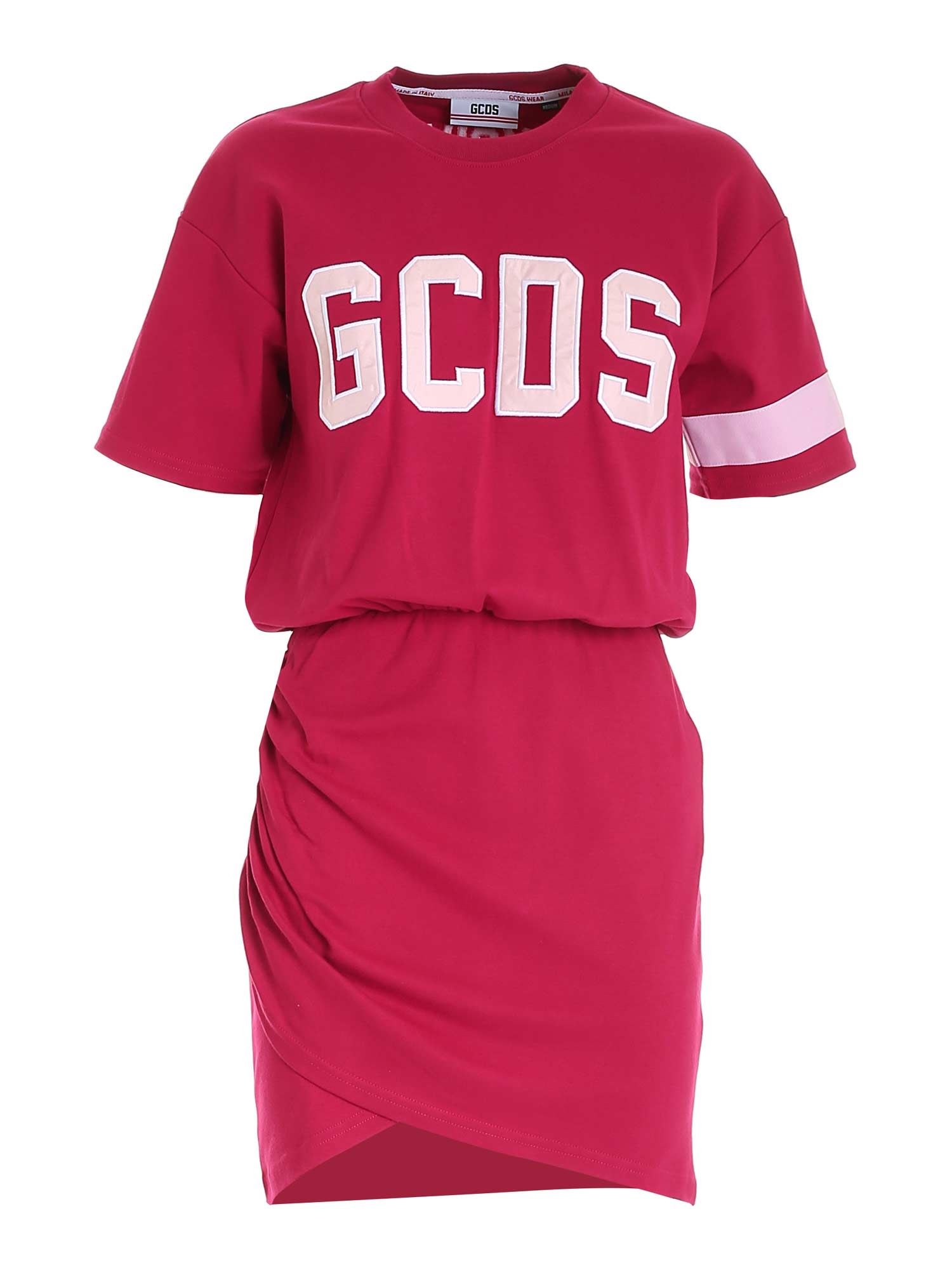 Gcds Cottons CONTRASTING LOGO DRESS IN FUCHSIA
