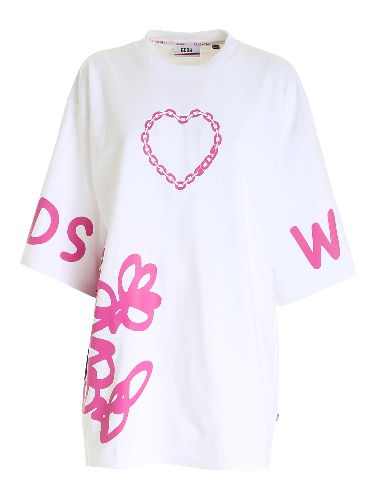 Gcds Cottons OVERSIZED PRINTED T-SHIRT IN WHITE