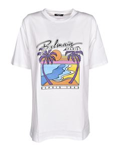 Balmain - Multicolor print T-shirt in white
