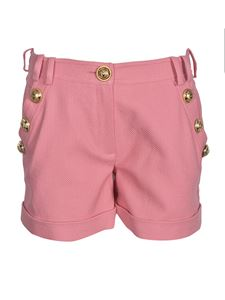 Balmain - Golden buttons cotton shorts in pink