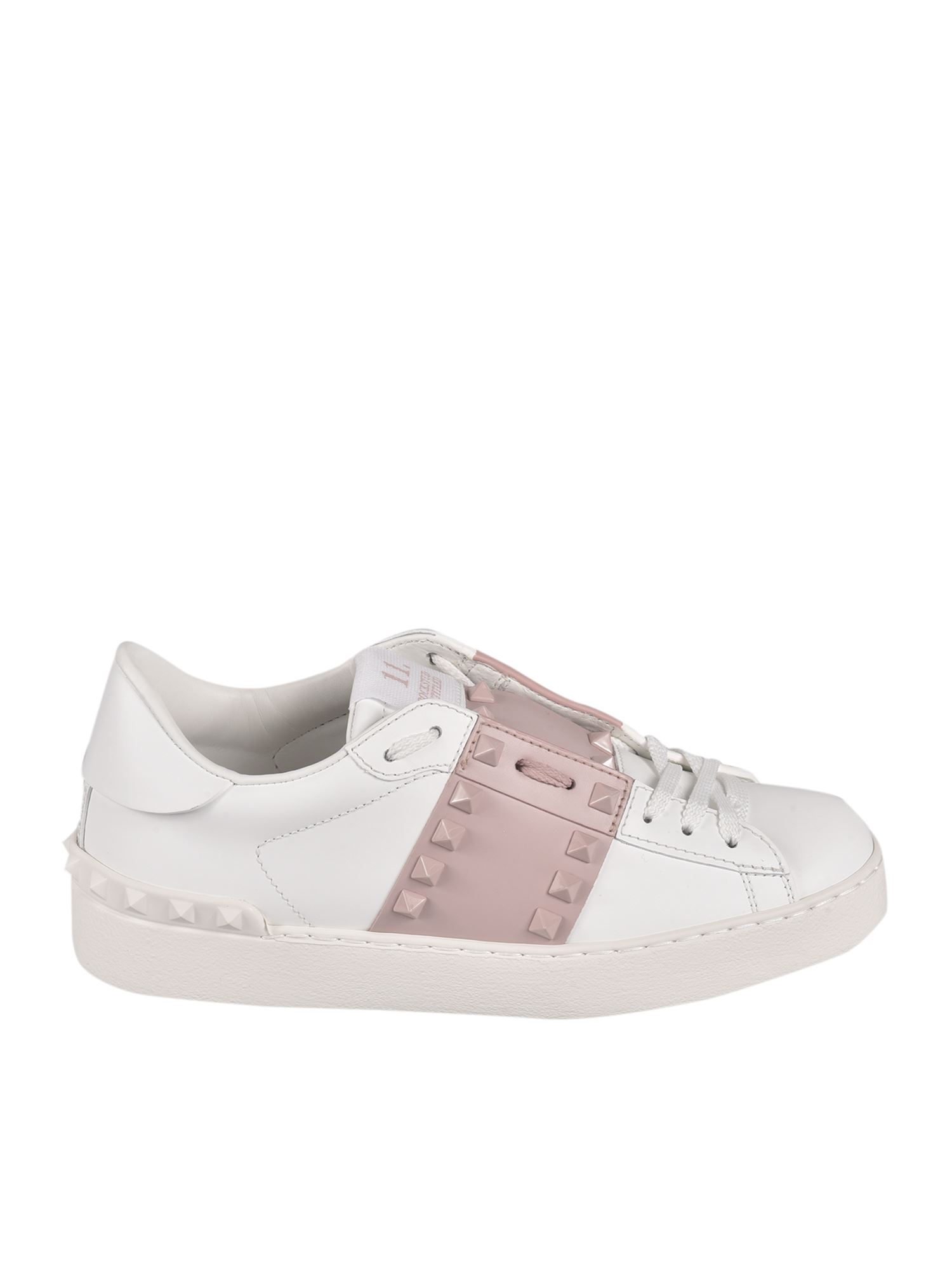 Valentino Leathers ROCKSTUD UNTITLED SNEAKERS IN WHITE AND PINK