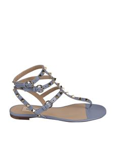 Valentino Garavani - Rockstud flat sandals in light blue