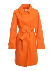 ADD - Faux leather trench coat in orange