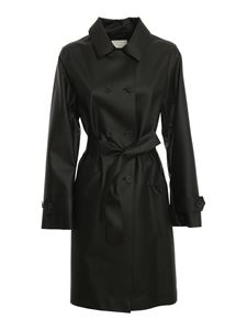 ADD - Faux leather trench coat in black