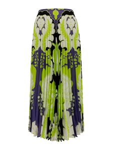 Valentino - Floral silk pleated skirt in green