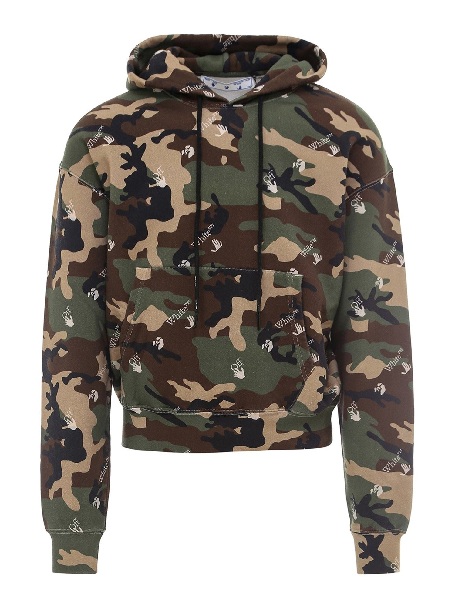 Off-White COTTON CAMOUFLAGE SWEATSHIRT IN GREEN AND BROWN