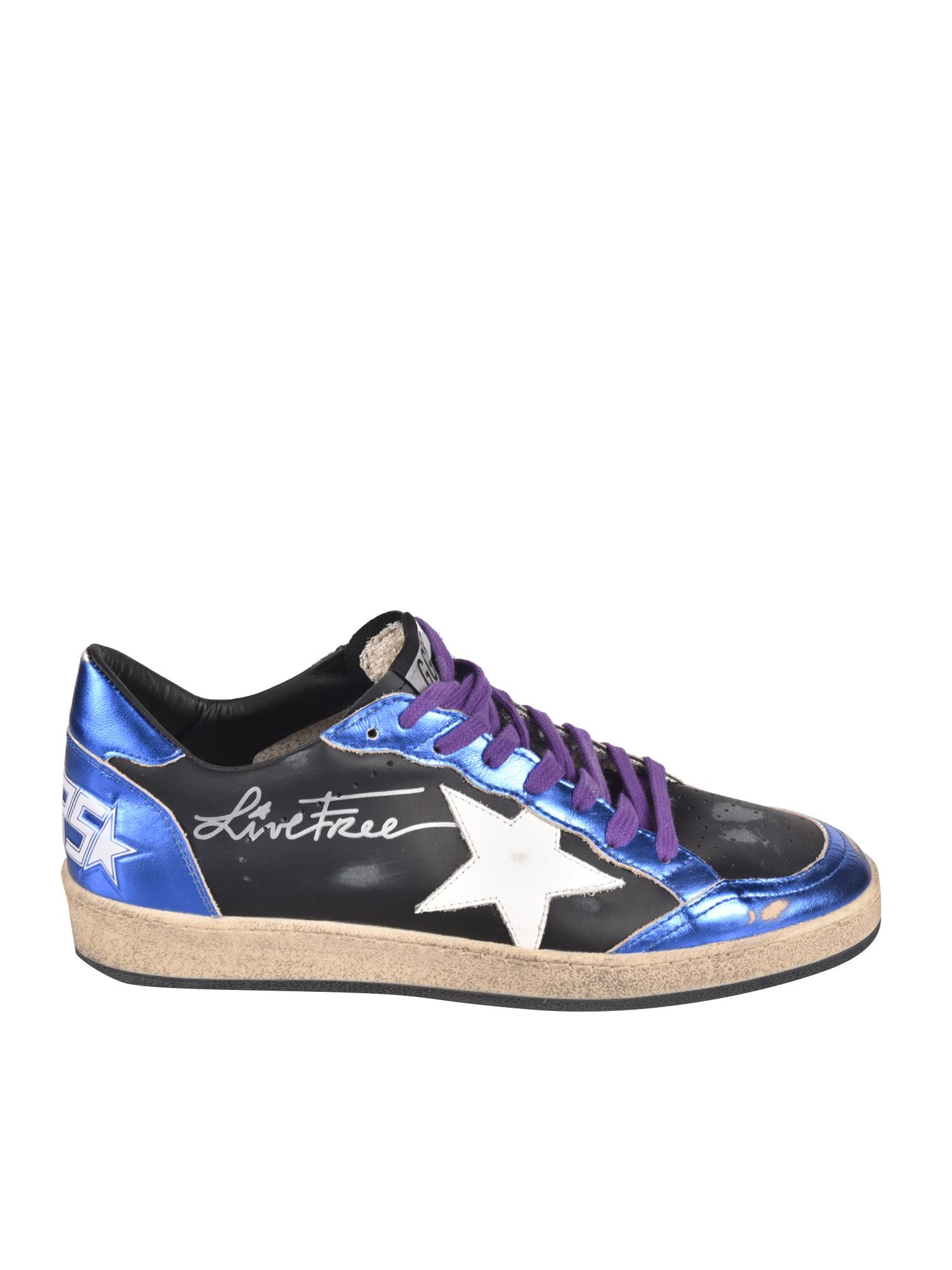 Golden Goose BALL STAR SNEAKERS IN BLACK AND BLUE