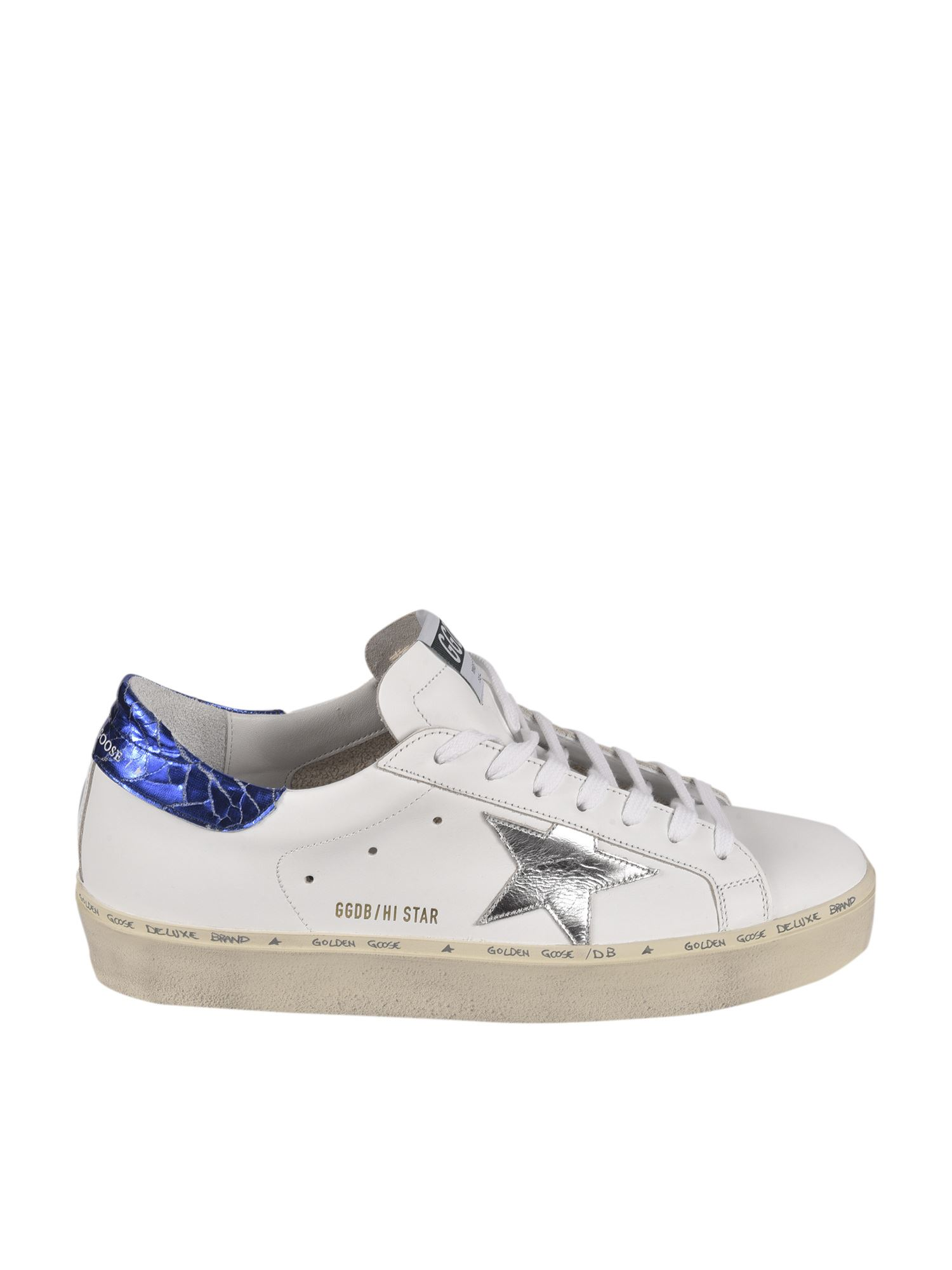 Golden Goose Leathers HI STAR CLASSIC SNEAKERS IN WHITE AND BLUE