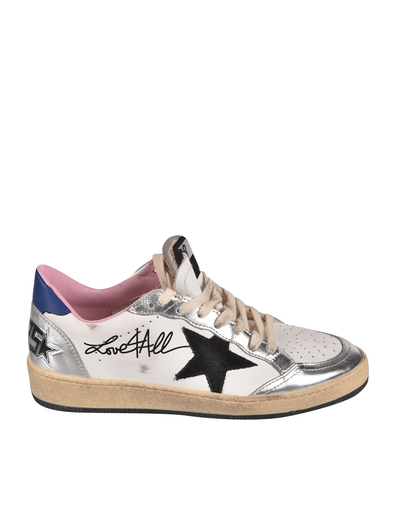 Golden Goose Leathers BALL STAR SNEAKERS IN WHITE AND SILVER
