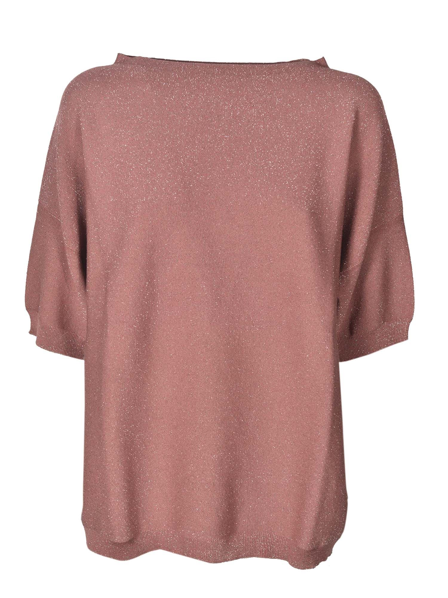 Fabiana Filippi Cottons SHORT SLEEVED SWEATER IN LAMÉ PINK