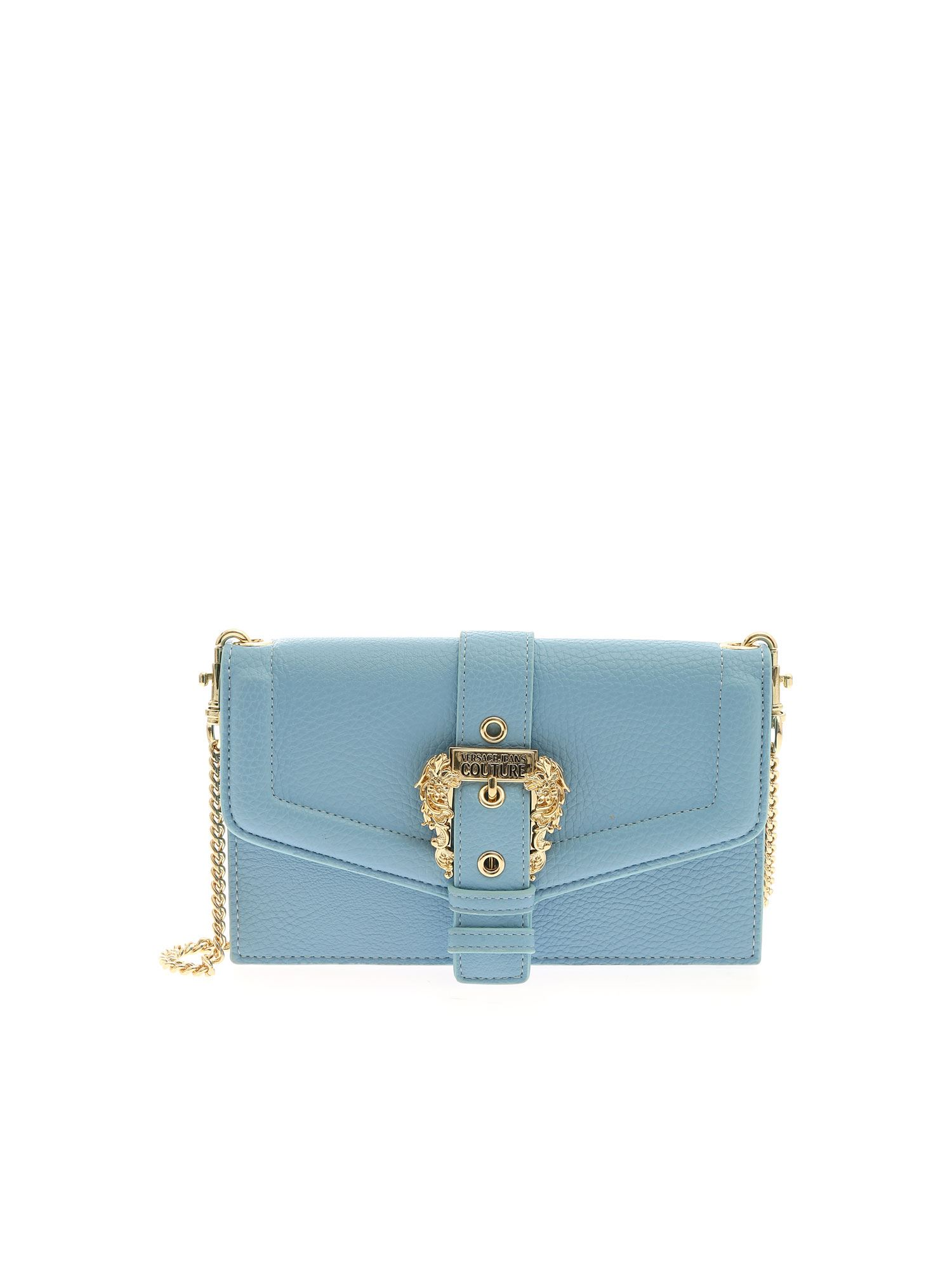 Versace Jeans Couture BAROQUE BUCKLE WALLET IN LIGHT BLUE