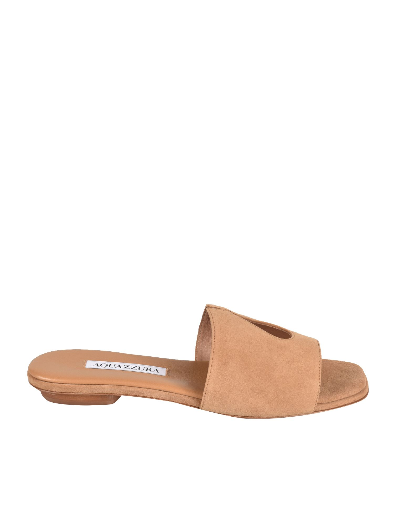 Aquazzura Suedes SEXY THING SLIDES IN SWEET HONEY COLOR