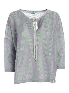 M Missoni - Lamé boxy blouse in green, purple and silver