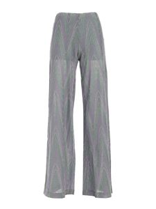 M Missoni - Lamé knitted pants in green and purple