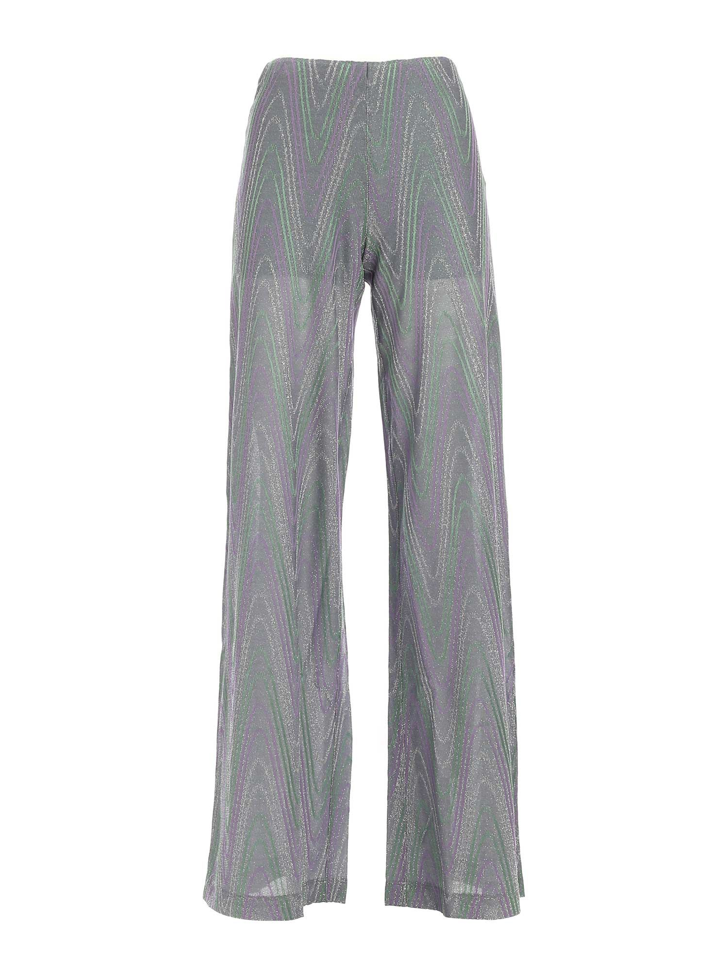 M Missoni Cottons LAMÉ KNITTED PANTS IN GREEN AND PURPLE
