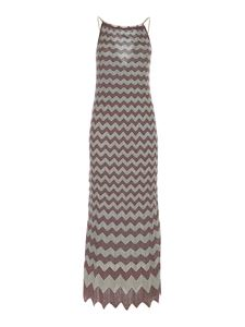 M Missoni - Lamé knitted dress in light blue and gold