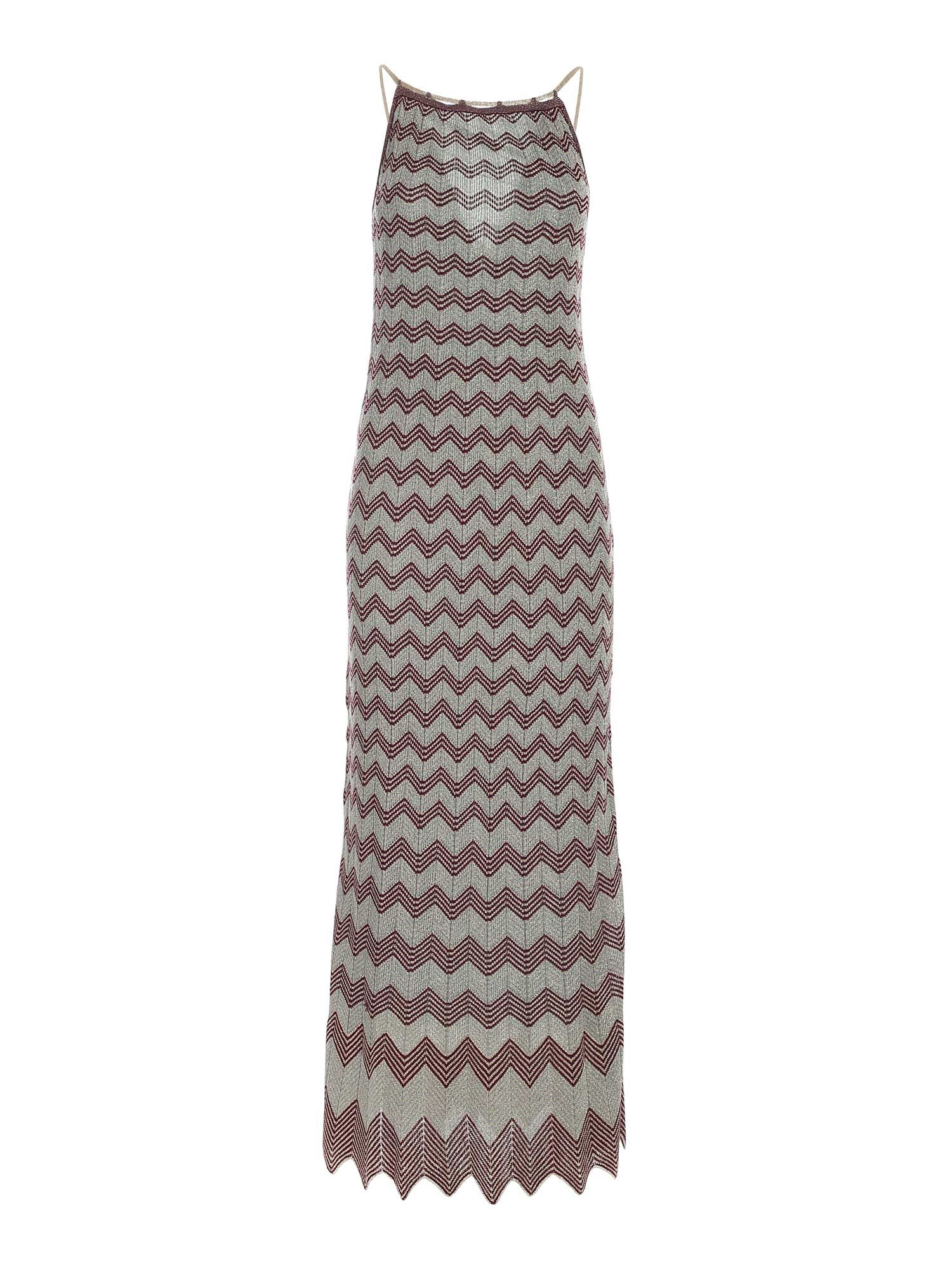 M Missoni LAMÉ KNITTED DRESS IN LIGHT BLUE AND GOLD
