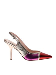 Anna F. - 1299 sling backs in red fuchsia and platinum color