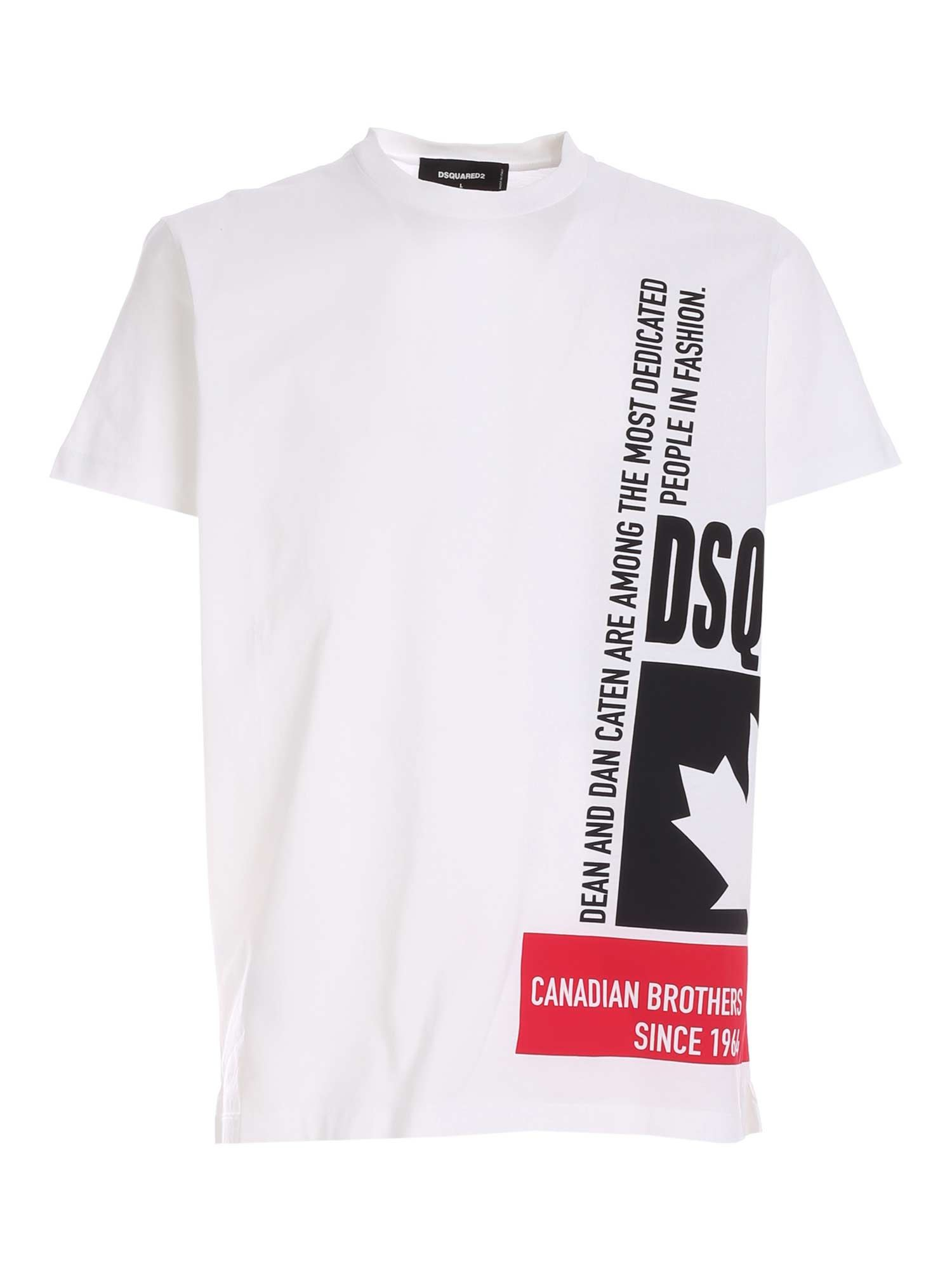 Dsquared2 T-shirts PRINTED T-SHIRT IN WHITE