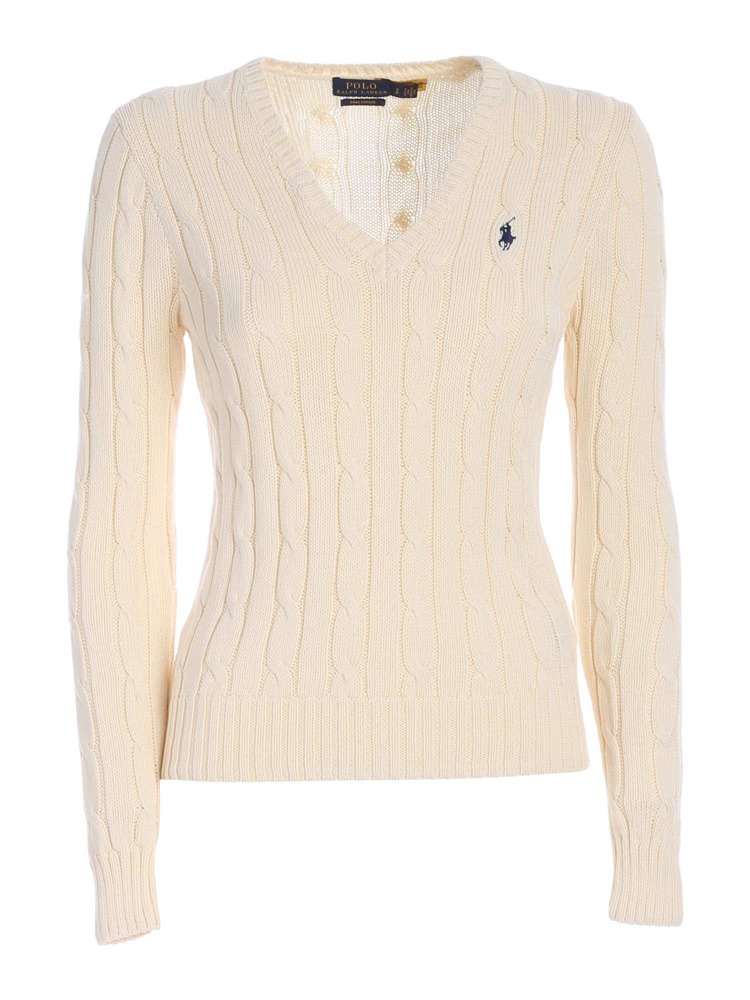 Polo Ralph Lauren Cottons POLO RALPH LAUREN LOGO EMBROIDERY SWEATER IN CREAM COLOR