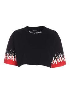 Vision Of Super - Flame crop fit t-shirt in black