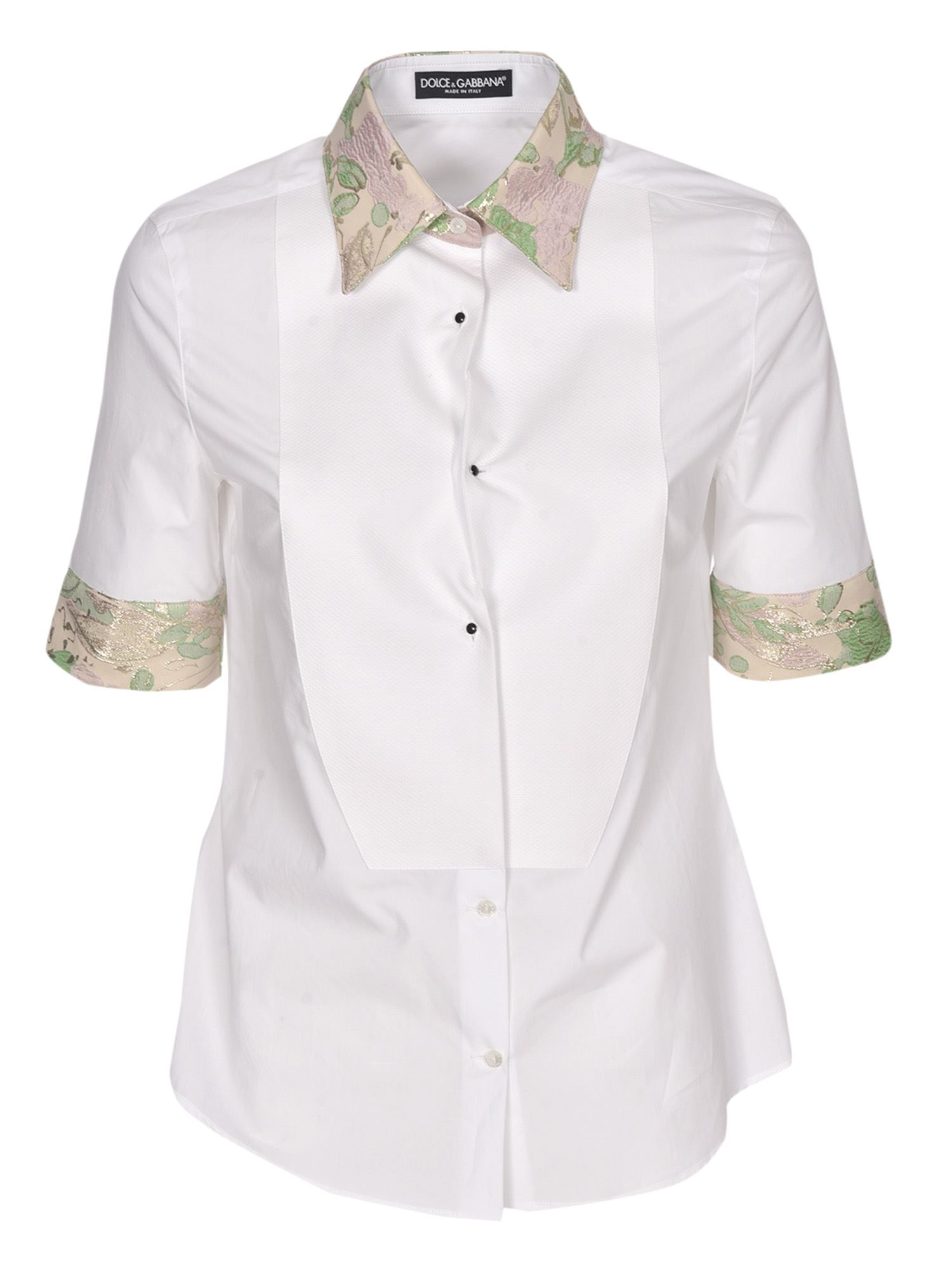 Dolce & Gabbana Cottons BROCADE DETAILED SHIRT IN WHITE