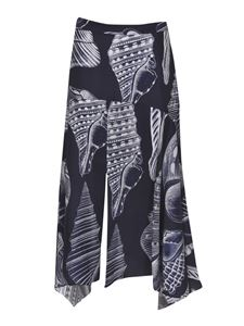 Stella McCartney - Asymmetrical shell print skirt in blue