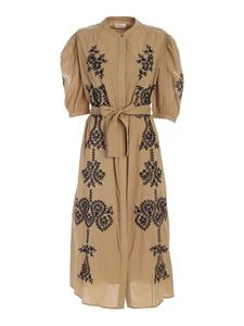 Ottod'Ame - Black embroidered dress in beige