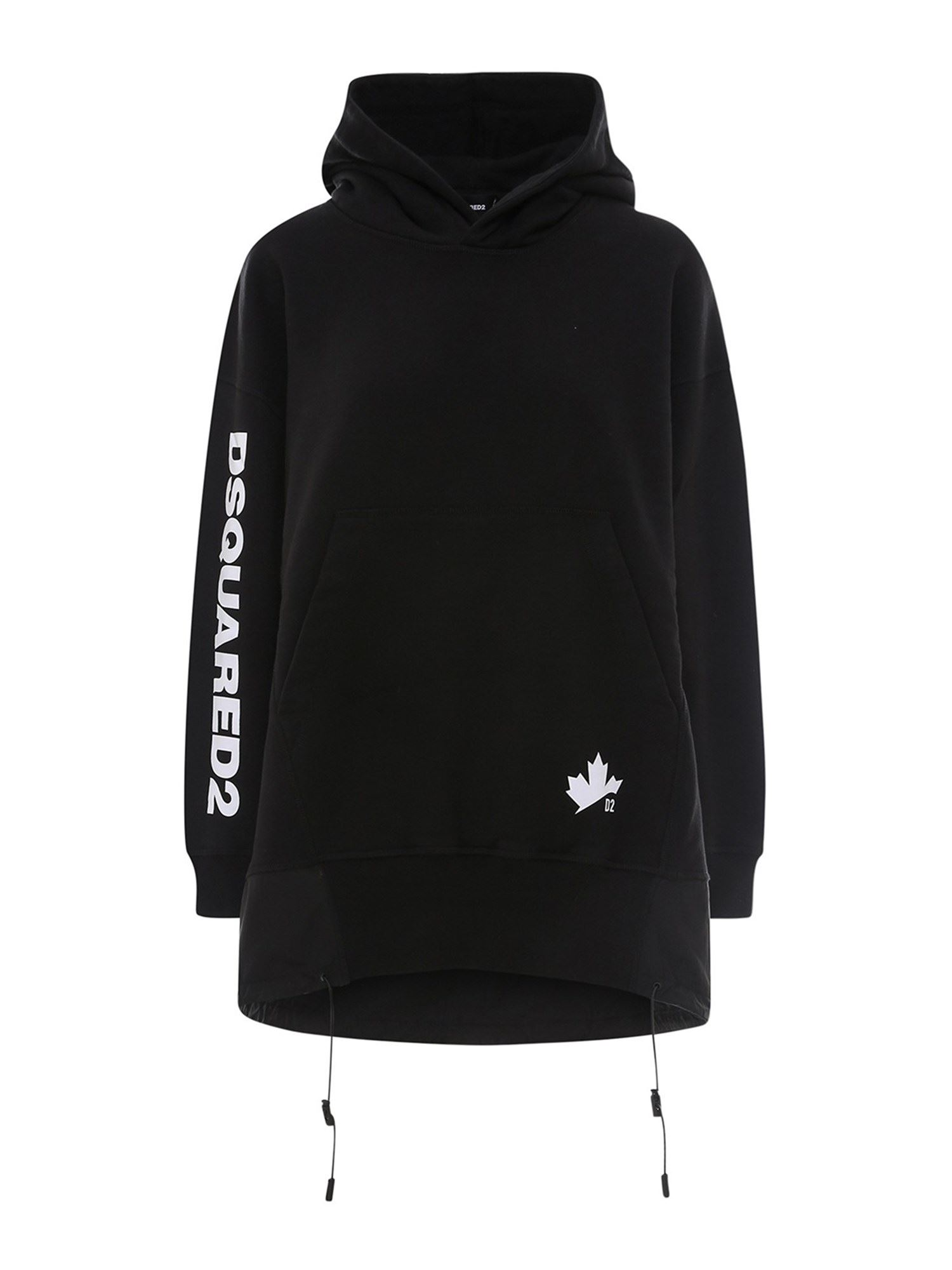 Dsquared2 Cottons COTTON HOODIE-DRESS IN BLACK