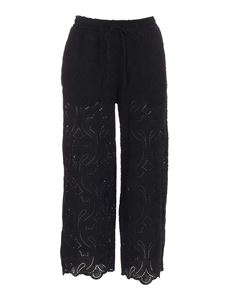 Ottod'Ame - Embroidered pants in black