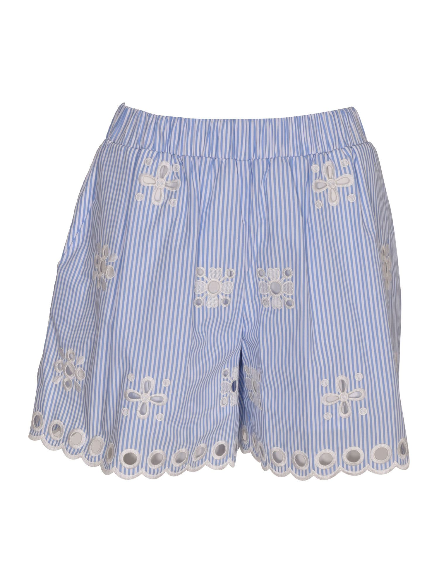 Red Valentino Cottons EMBROIDERED STRIPED SHORTS IN WHITE AND LIGHT BLUE