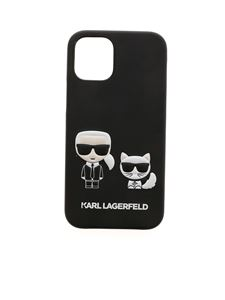 Karl Lagerfeld - Cover iPhone 12Mini Karl e Choupette nera