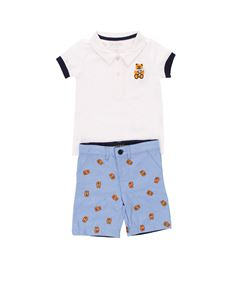 Guess - White and light blue teddy bear embroidery suit
