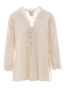 Semicouture - Broderie anglaise shirt in cream color