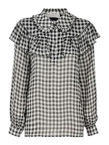 Philosophy di Lorenzo Serafini - Vichy pattern blouse in black and white