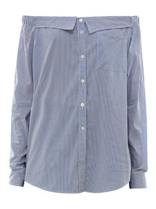 Semicouture - Striped cotton boat neck shirt in light blue