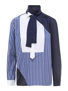 Sacai - Striped cotton shirt in light blue and blue