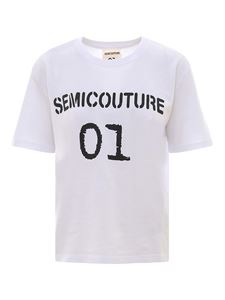 Semicouture - Logo print cotton T-shirt in white