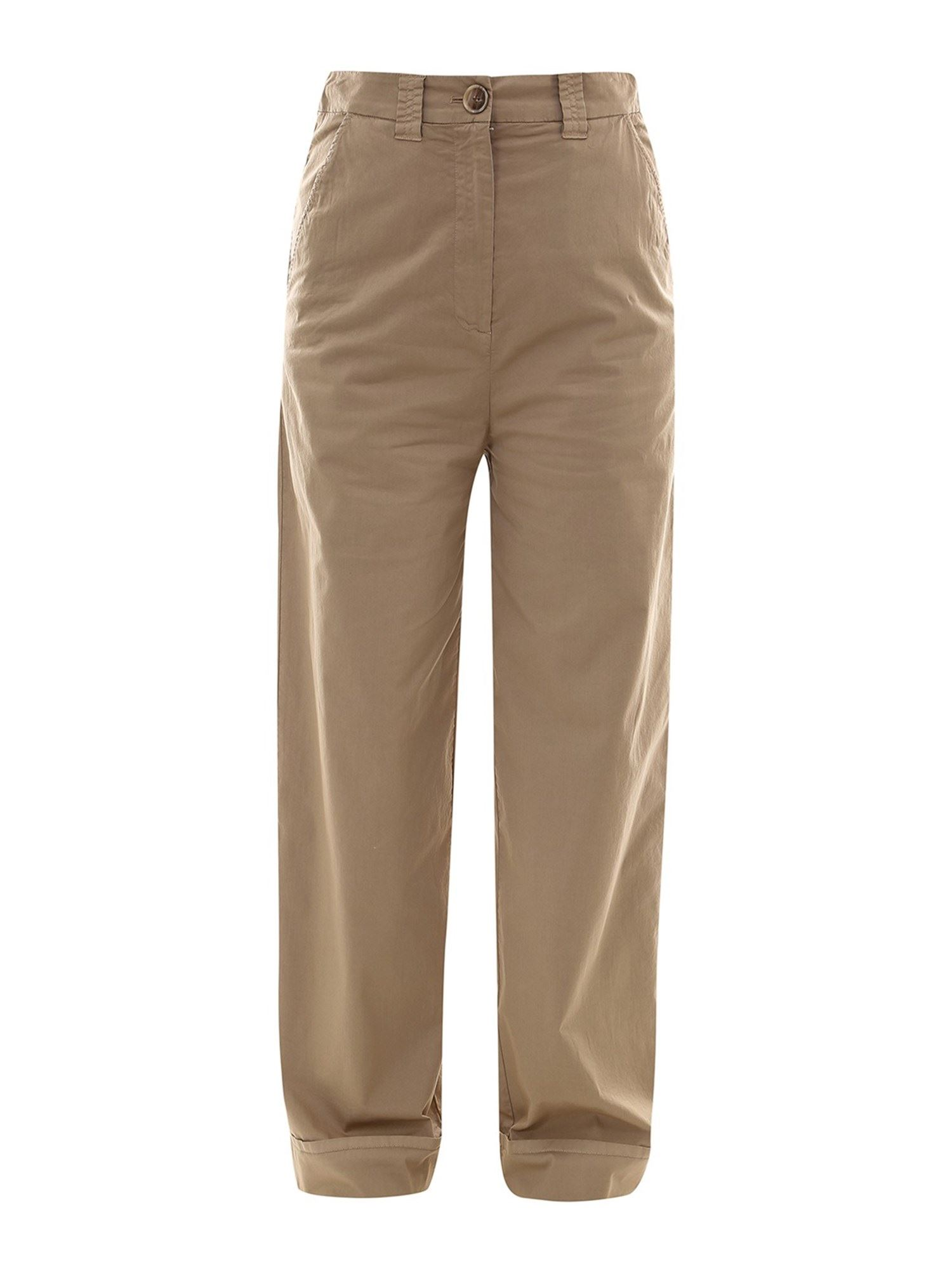 Semicouture STRETCH COTTON PANTS IN BEIGE