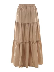 Semicouture - Cotton ruffles long skirt in beige