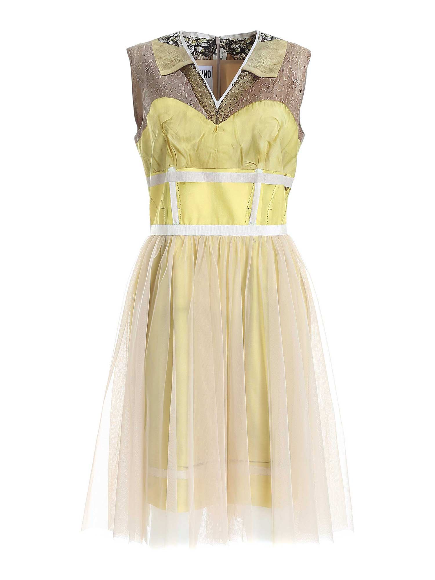 Moschino Cottons INSIDE OUT TROMPE-L'ŒIL DRESS IN YELLOW