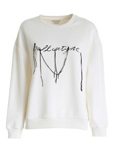 Ballantyne - Embroidered logo sweatshirt in ivory color