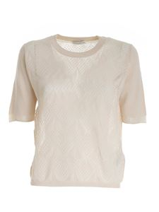Ballantyne - Drilled knitted pullover in beige