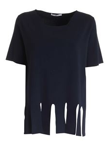 Kangra Cashmere - Fringes knitted T-shirt in blue