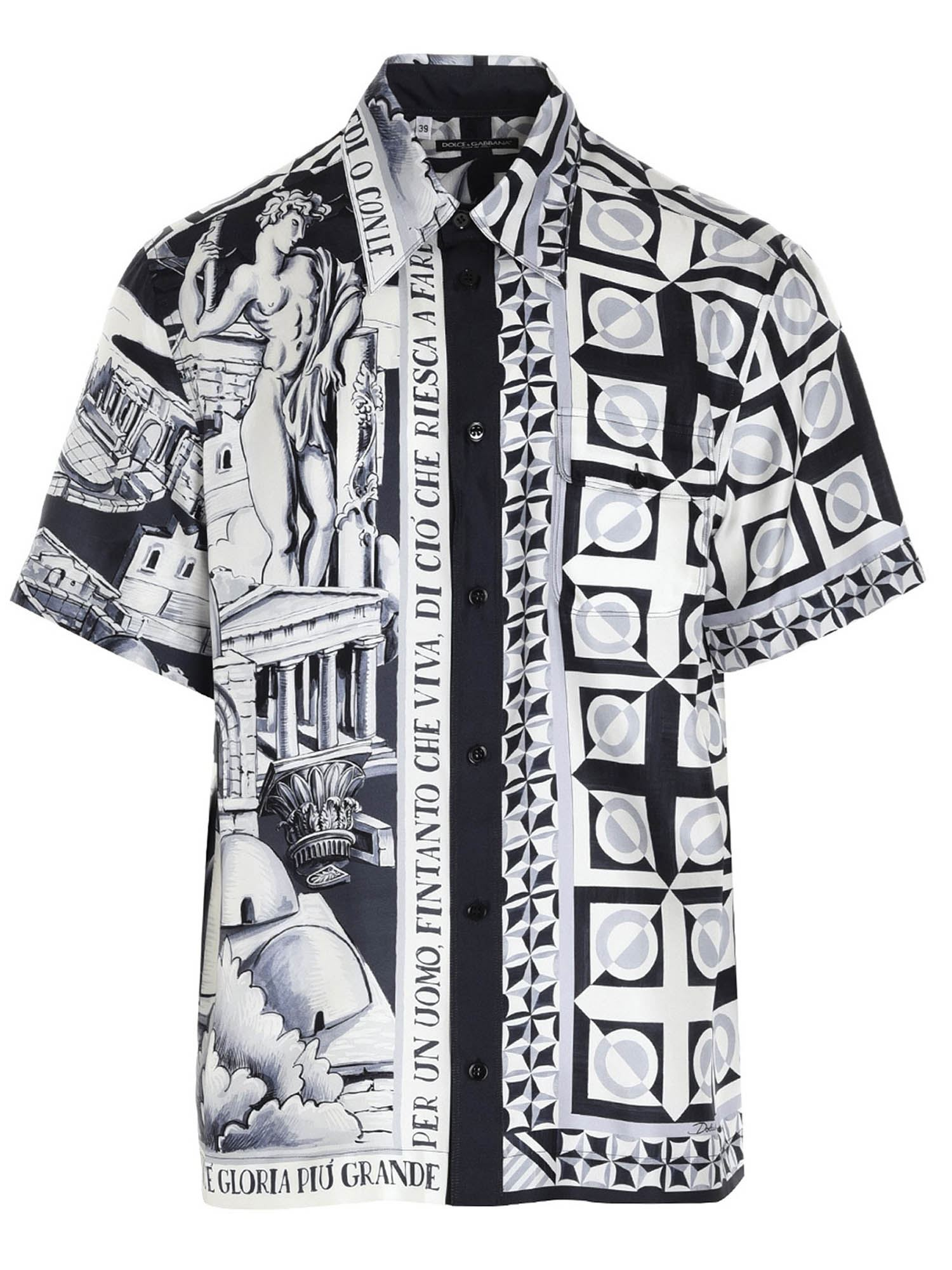 Dolce & Gabbana Silks MAIOLICA PRINT SHIRT IN WHITE AND BLACK