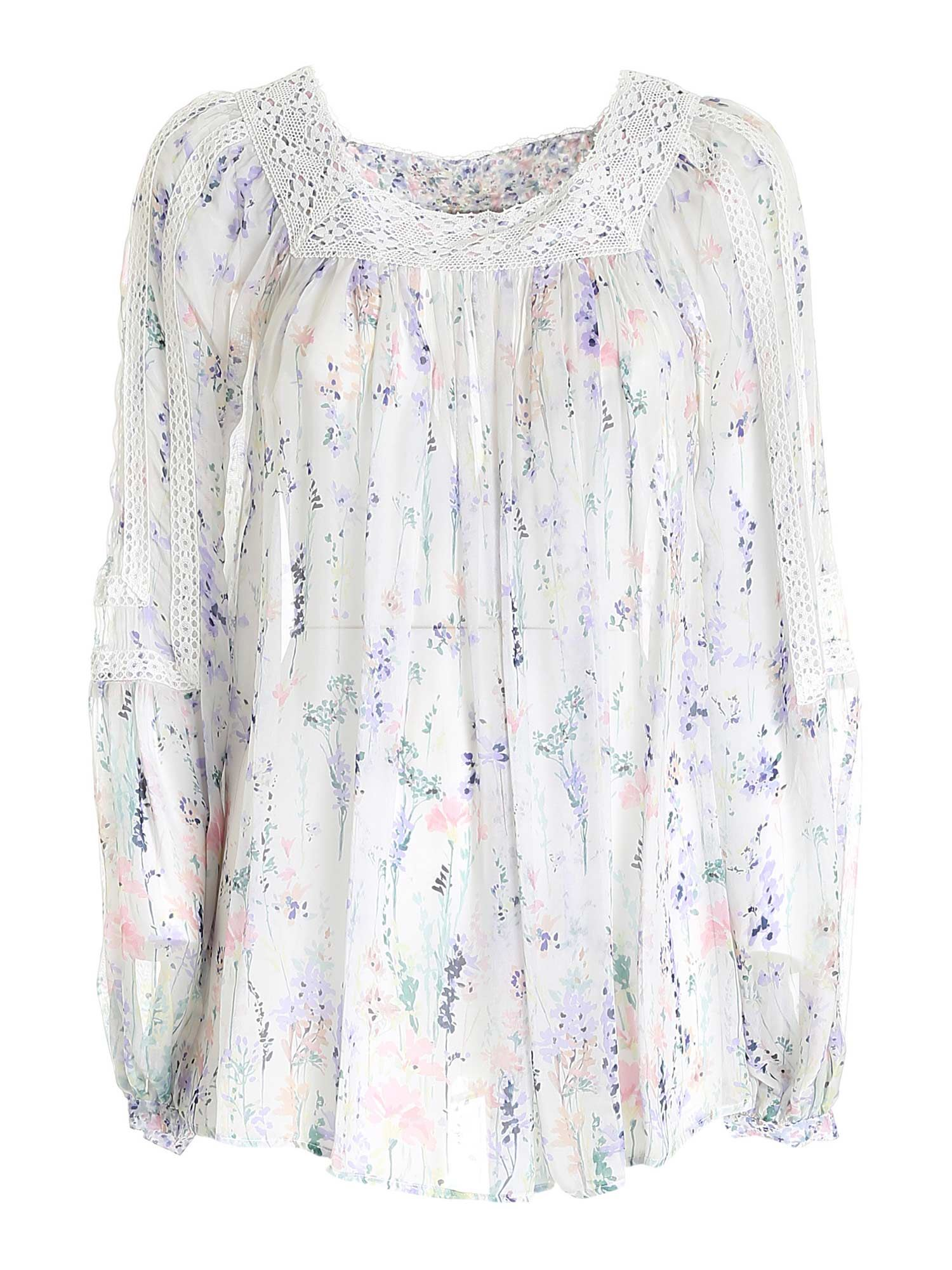 Ermanno Scervino FLOWER PRINT BLOUSE IN WHITE