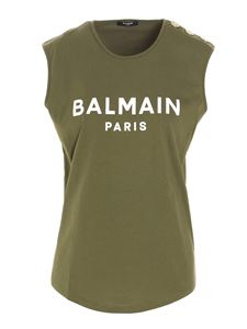 Balmain - Contrasting logo top in green