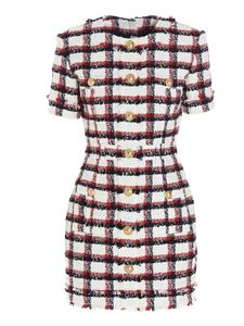 Balmain - Checked tweed dress in white