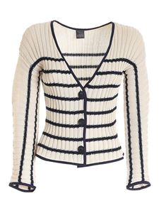 Lorena Antoniazzi - Sequins striped cardigan in beige and blue